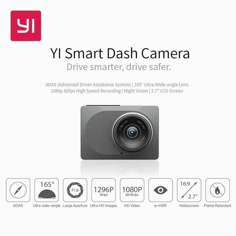 YI caméra de tableau de bord intelligente Version internationale WiFi Vision nocturne HD 1080 P 2.7 165 degrés 60fps ADAS rappel sûr caméra de tableau de bord