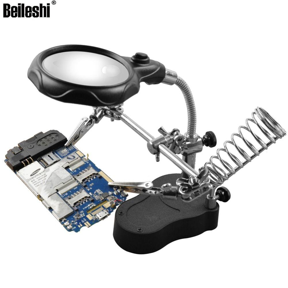 Beileshi Tisch Lupe 12X3. 5X Lupe mit LED Lampe Lupe Fest Clip Löten Unterstützt Dritte Hand Reparatur Werkzeuge