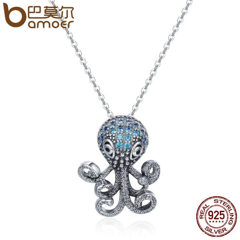 BAMOER 100% 925 Sterling Silver Fancy Octopus Marine Animal Clear CZ Pendant Necklace Vintage Punk Style Silver Jewelry SCN166