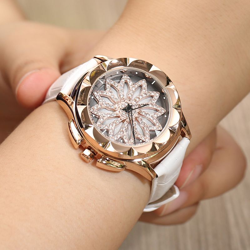 merlots fashion genuine Leather women watches 360 degrees Rotating dial crystal diamond quartz watch rhinestone reloj mujer
