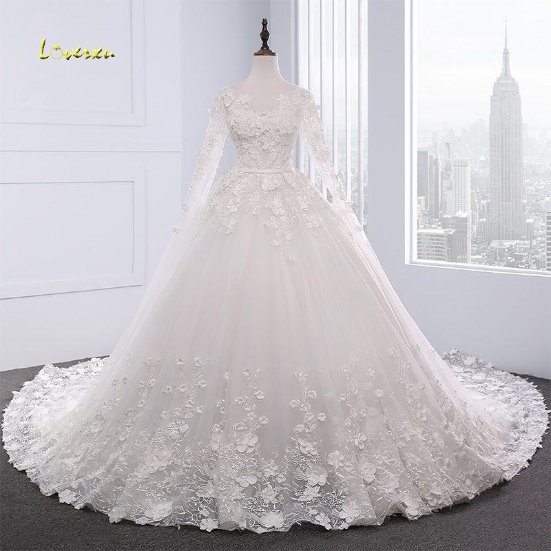 Loverxu Vestido De Noiva Langarm Prinzessin Hochzeitskleid 2018 Königlicher Zug Appliques Wulstige Spitze Blumen Brautkleid Plus Größe