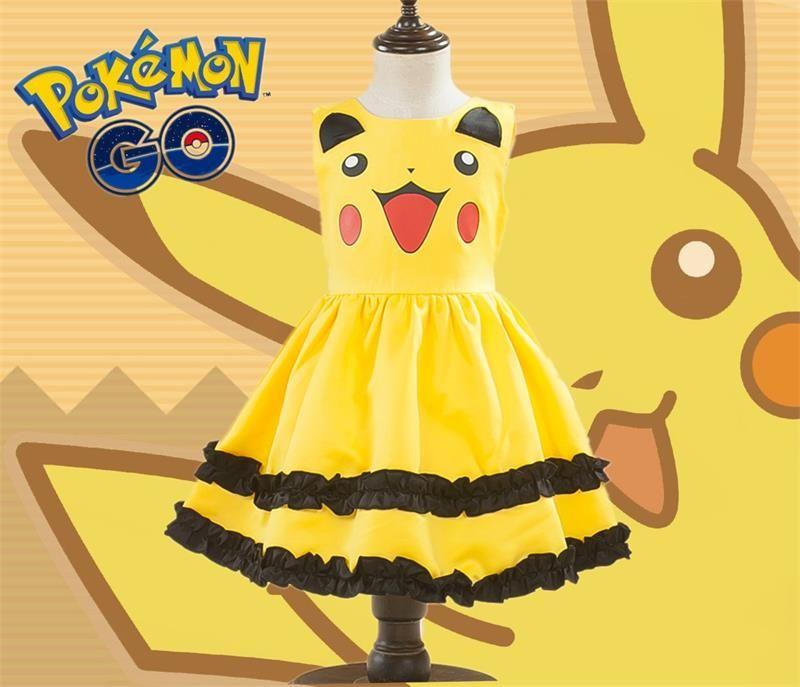 Pikachu Mädchen Nette Ballkleid Kleid Kinder Schöne Kleid Anime Cosplay Pokemon Gehen Kostüme Mit Bowknot Geburtstag Geschenk Party Kleid