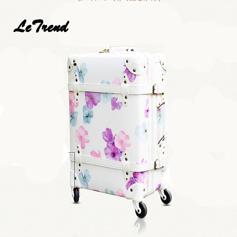 Letrend Student Retro Suitcase Wheels Rolling Luggage Spinner 20 inch Women Carry On Travel Bag Men Cabin Trolley 24 inch Trunk