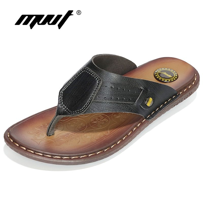 MVVT Classics Summer Shoes Men Slippers Quality Split leather Sandals For Men Comfortable <font><b>Flip</b></font> Flops Men Beach Sandals