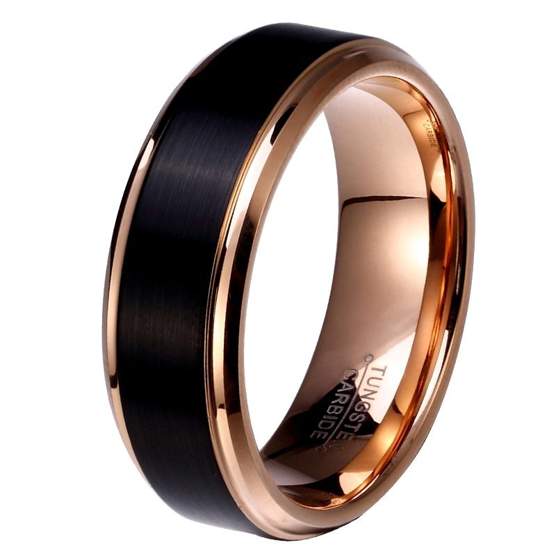 8mm/6mm/4mm Black & Rose Gold Color Tungsten Carbide Wedding Band for Boy and Girl Friendship <font><b>Ring</b></font> Russian Men Simple Jewelry