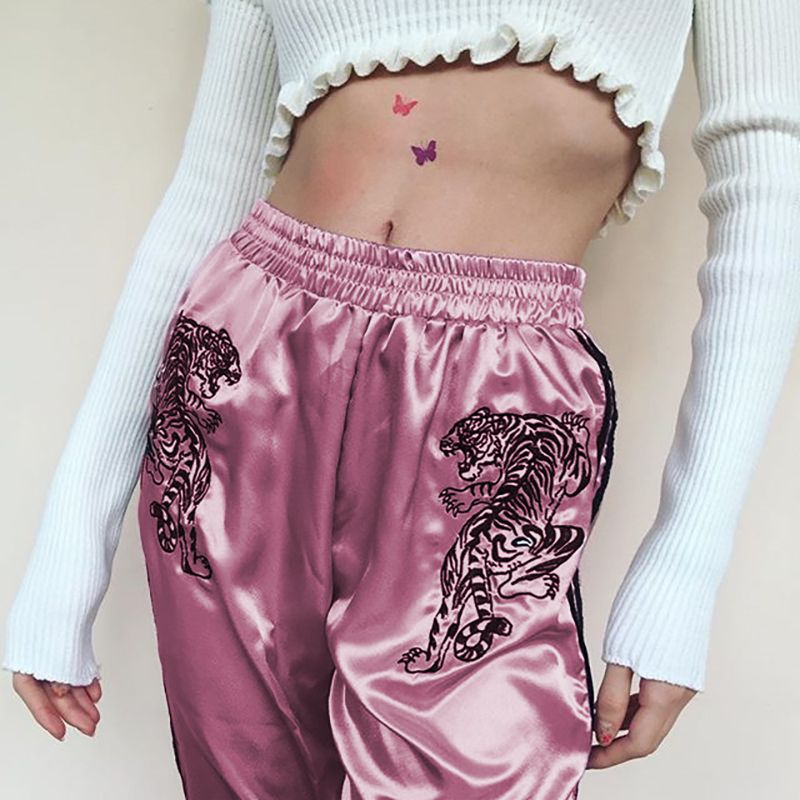 Weekeep Elastic High Waist Pants Women Brand Embroidery Satin Fashion Striped Pencil Pants Streewear Trousers <font><b>Pantalon</b></font> Femme