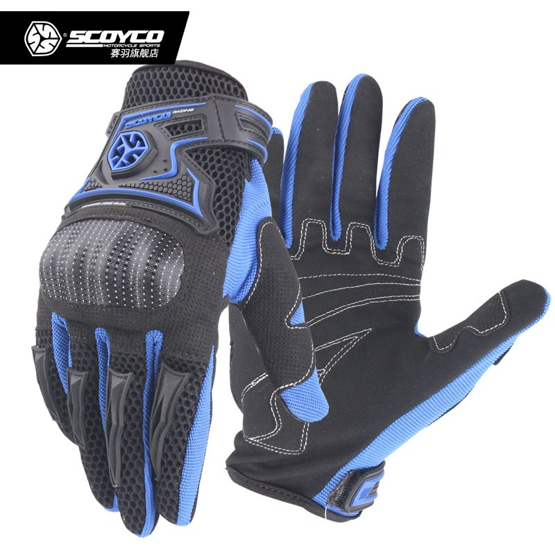 Scoyco MC23 Motorcycle Racing Accessories Bike Bicycle Full Finger Protective Shell Gloves Black Blue Red