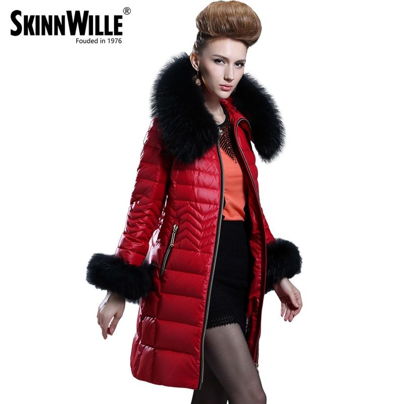 Down Jacket Collars 2017 Medium-long Down Coat Female Fashion High Quality Luxury Thickening Fur Collarwomen Coat