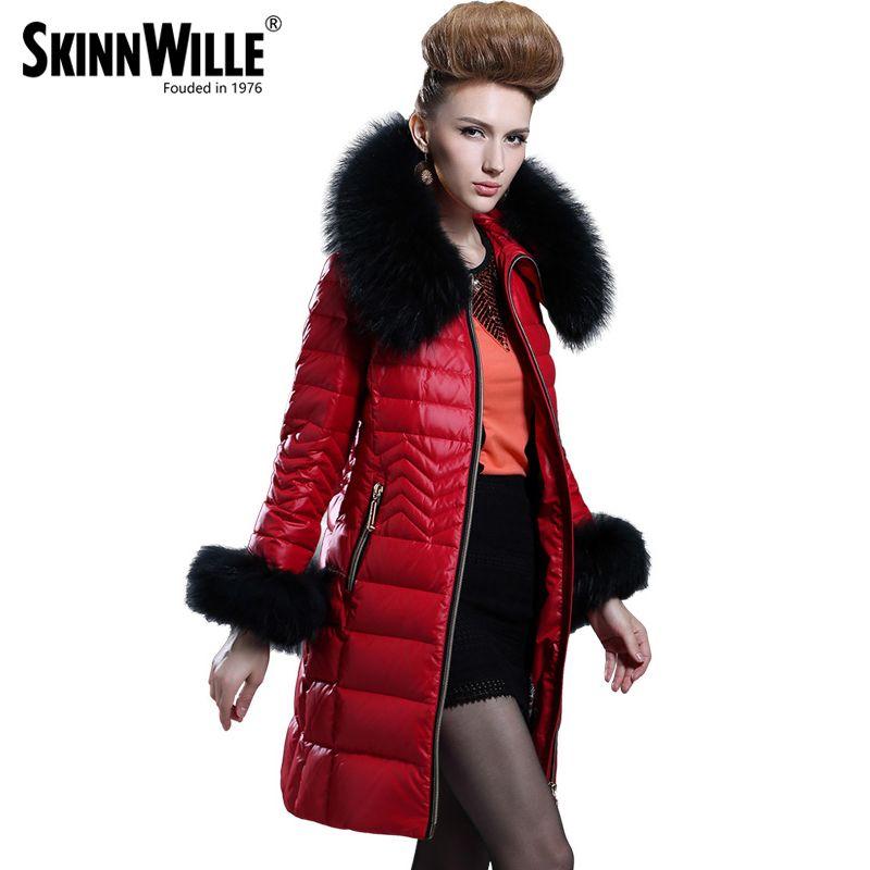 Down Jacket Collars 2017 Medium-long Down Coat Female Fashion High Quality Luxury Thickening Fur Collarwomen Coat