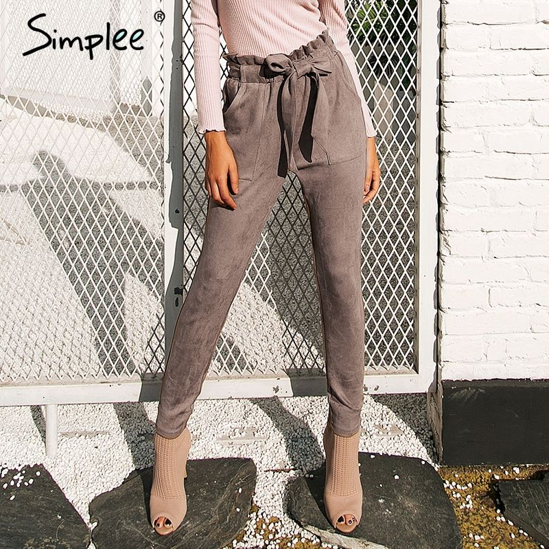 Simplee Suede high waist pencil pants capris Women bottom sash streetwear casual pants <font><b>2017</b></font> Autumn chic black winter trousers