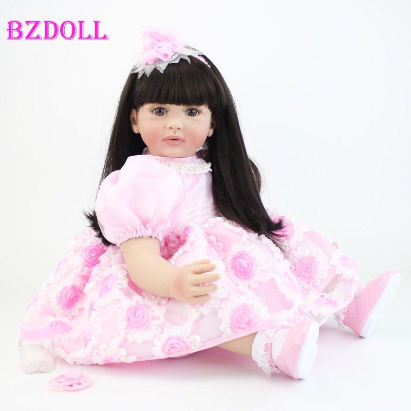60 cm Silikon Vinyl Reborn Mädchen Baby Puppe Spielzeug Lebensechte 24 zoll Prinzessin Kleinkind Babys Puppen Mit Kleid Mode Geburtstag geschenk