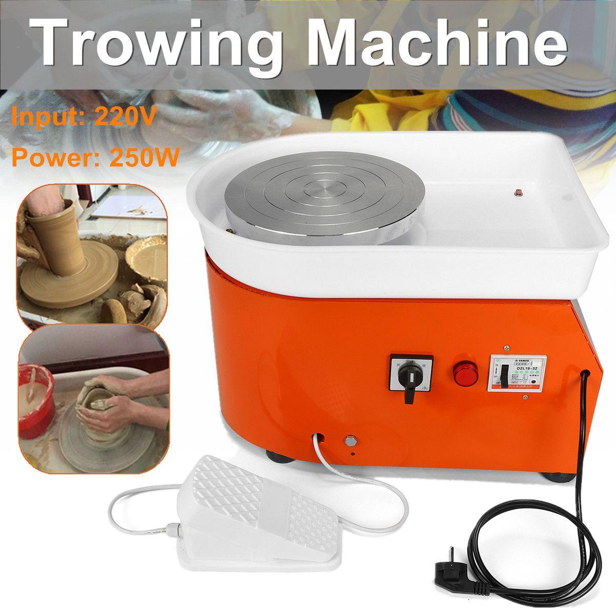 25cm Pottery Wheel Machine EU/AU AC220V 250-350W Ceramic Work Ceramics Clay Art With Mobile Flexible Foot Pedal Smooth Low Noise