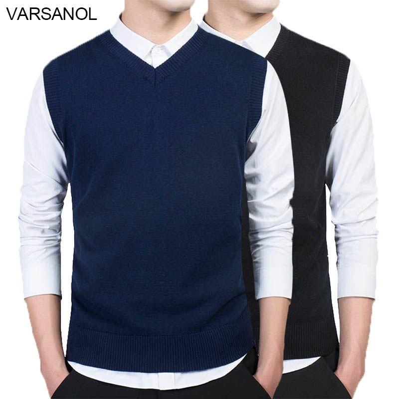 Varsanol marque vêtements pull pull hommes automne col en V mince gilet chandails sans manches hommes chaud pull coton décontracté M-3xl