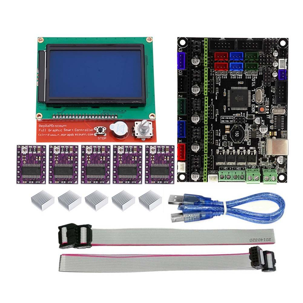 For MKS GEN L Compatible with 12864 LCD Display Support DRV8825 Motor Driver 3D Print Kits SL@88