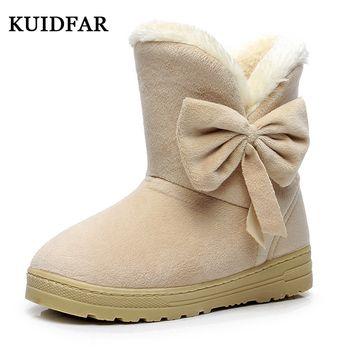 Kuidfar женская обувь зимние Сапоги и ботинки для девочек женские Мех животных замшевые туфли на плоской подошве зимние сапоги, ботильоны модн...