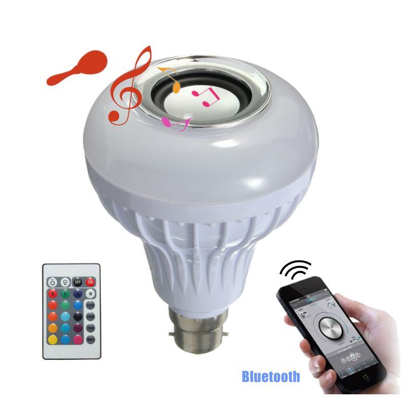 Ac100-240v 12 Вт B22 СВЕТОДИОДНАЯ RGB белый Беспроводной Bluetooth Динамик лампочки музыка играет аудио лампы с 24keys Дистанционное управление