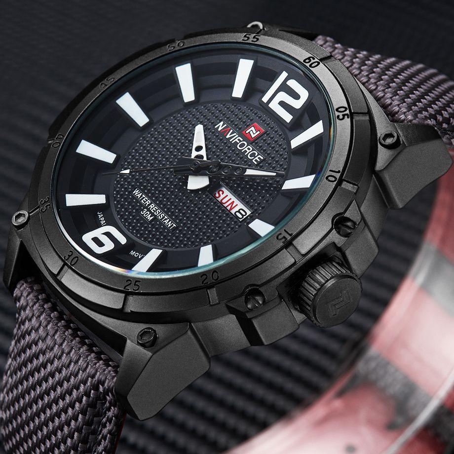 NAVIFORCE Top Brand Military Watches Men Fashion <font><b>Casual</b></font> Canvas Leather Sport Quartz Wristwatches Male Clock Relogio Masculino