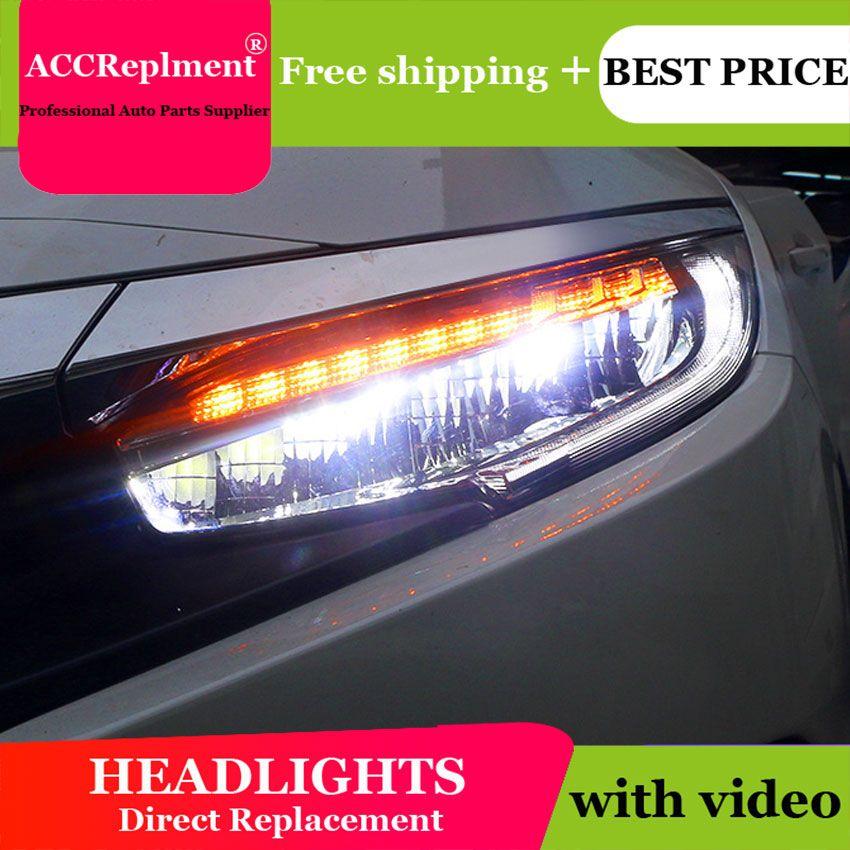 Auto Styling LED Kopf Lampe für Honda Civic scheinwerfer 2016-2017 Neue Civic LED H7 hid Q5 Bi- xenon Objektiv abblendlicht