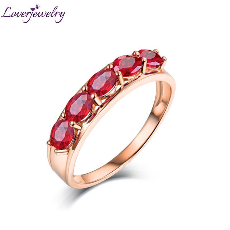 Loverjewelry 18 karat Rose Gold Rubin Ring Trendy Frauen Edlen Schmuck Ringe Mit 100% Natürliche Edelstein Fünf Oval 3 * 4mm Stein