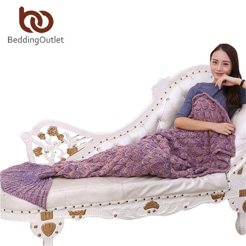 BeddingOutlet Handmade Yarn Knitted Mermaid Tail Blanket for Adult Kids Throw Bed Wrap Super Soft Crochet Warm Blanket 3 Sizes