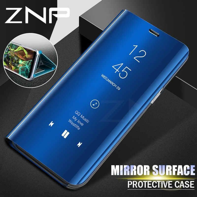 Clear View Mirror Smart Case For Samsung J7 J5 J3 2017 A7 A5 A3 Leather Flip Stand Case For Samsung Galaxy S9 S8 Plus A8 Cover