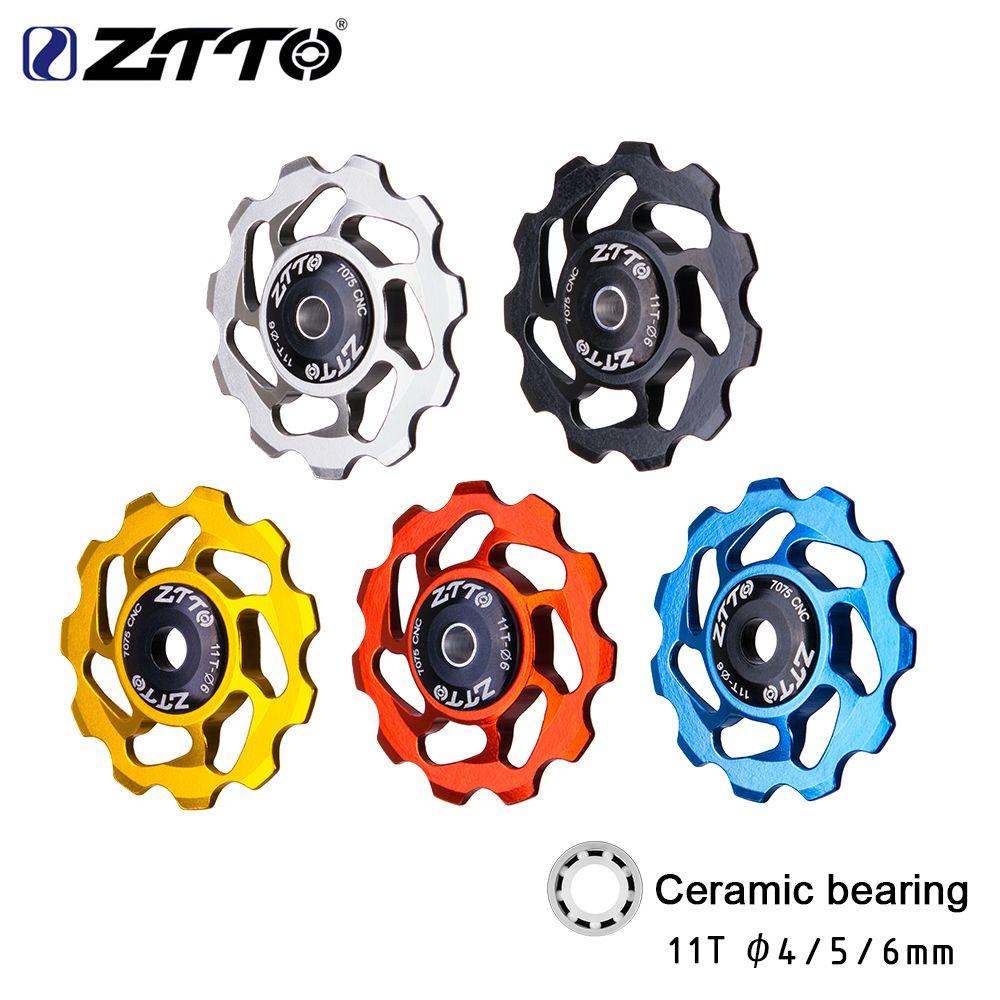 ZTTO 11T vtt vélo arrière dérailleur Jockey roue en céramique roulement poulie AL7075 CNC vélo de route Guide rouleau tendeur 4mm 5mm 6mm