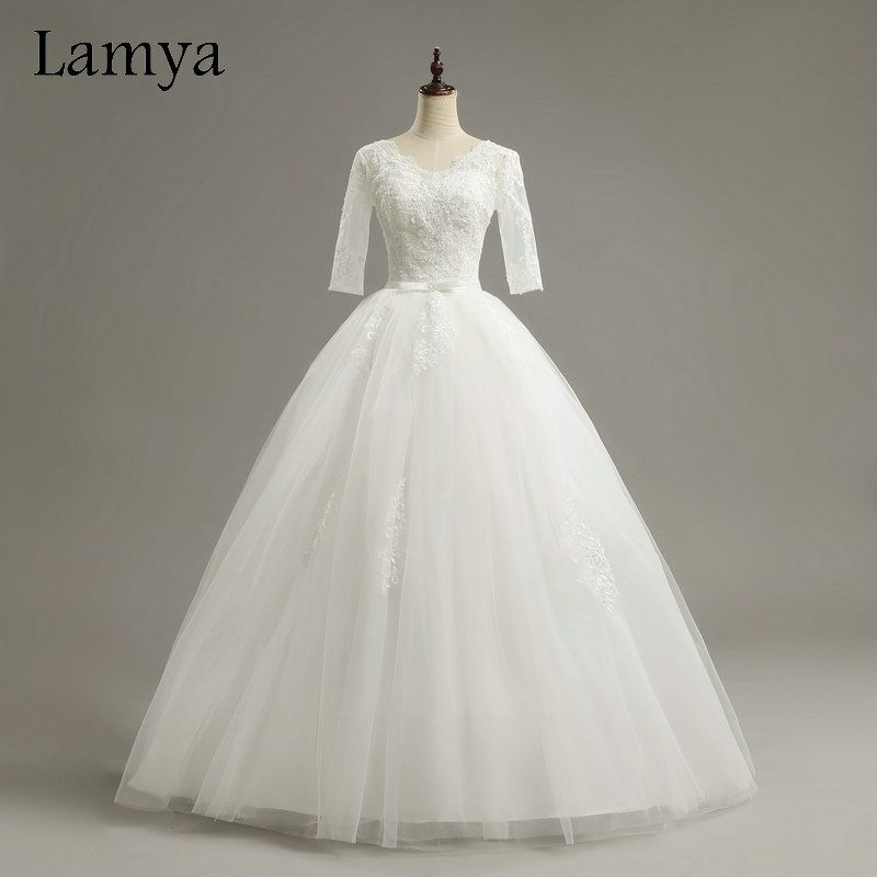 Lamya Cheap Half Lace Sleeve vestidos de noiva Wedding Dresses 2017 Sexy V Neck Bridal Dress Customized Elegant Bridal Gowns