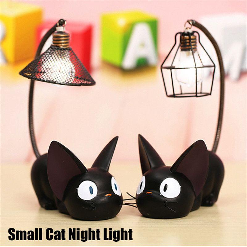Contrebande LED veilleuse C reative résine chat Animal veilleuse ornements décoration de la maison cadeau petit chat pépinière lampe respiration