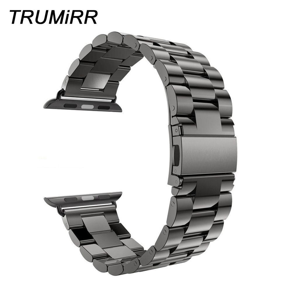 Bracelet de montre en acier inoxydable pour montre Apple iWatch 38mm 40mm 42mm 44mm série 4 3 2 1 Bracelet de Sport Bracelet noir argent
