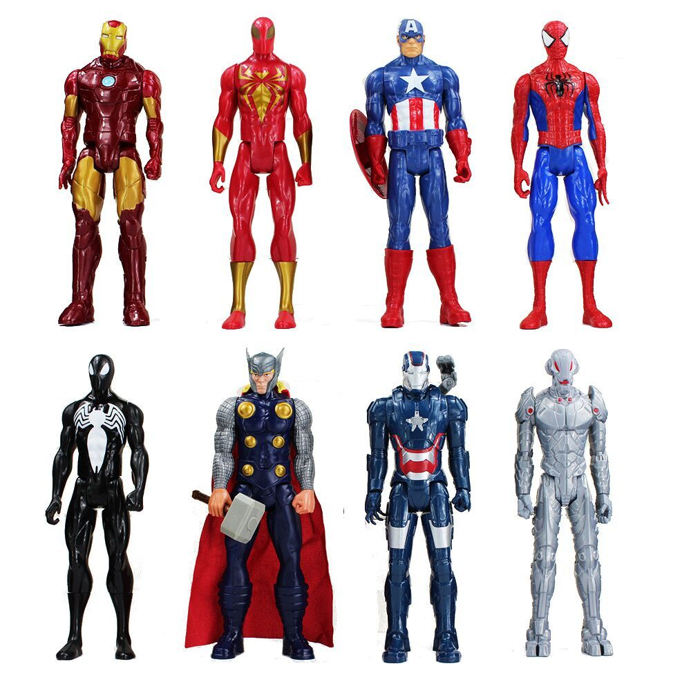 30cm Anime Super hero Iron Man Captain America Spiderman Green Goblin Venom Ultron PVC Action Figure Can Moved Model Toys