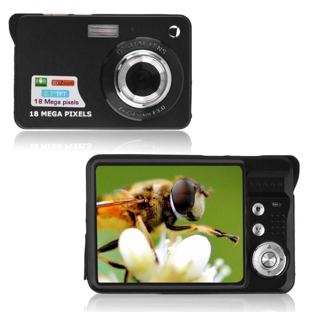 Schwarz 9,5*6*2,5 cm tf-karte JPEG/AVI CMOS Senor 2,7 ''TFT LCD HD 720 P 18MP Digitale Camcorder Kamera 8x Zoom Anti-shake UNS