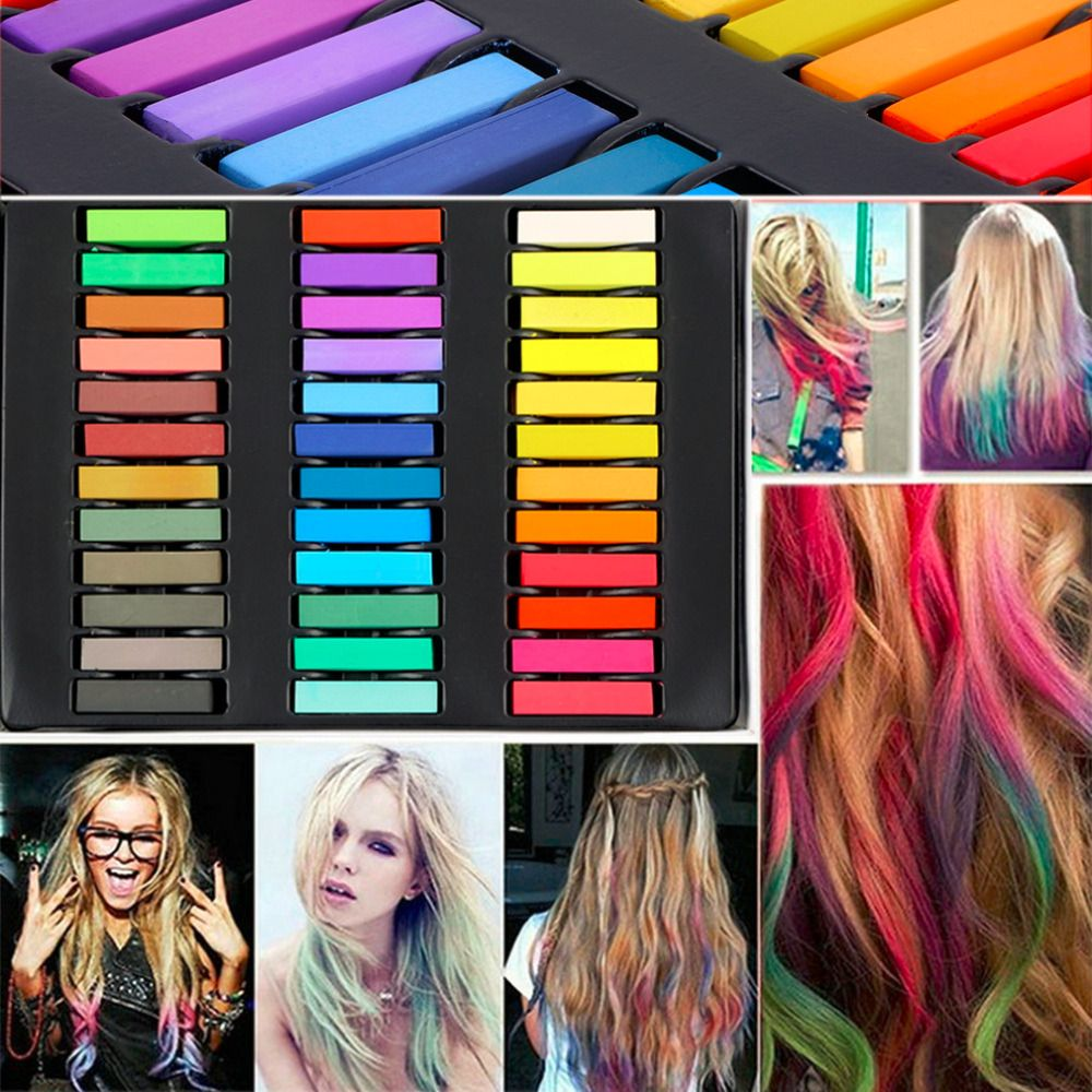 36 Colors Hair Dye Easy Temporary Colors Non-toxic Hair Chalk Soft Pastels Kit Hair Color Crayons for Hair