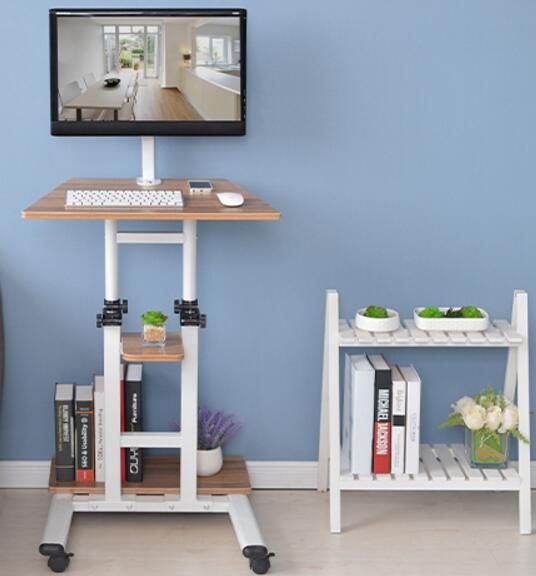 Multifunctional household computer computer desk standing mobile lazy table can freely lift table.
