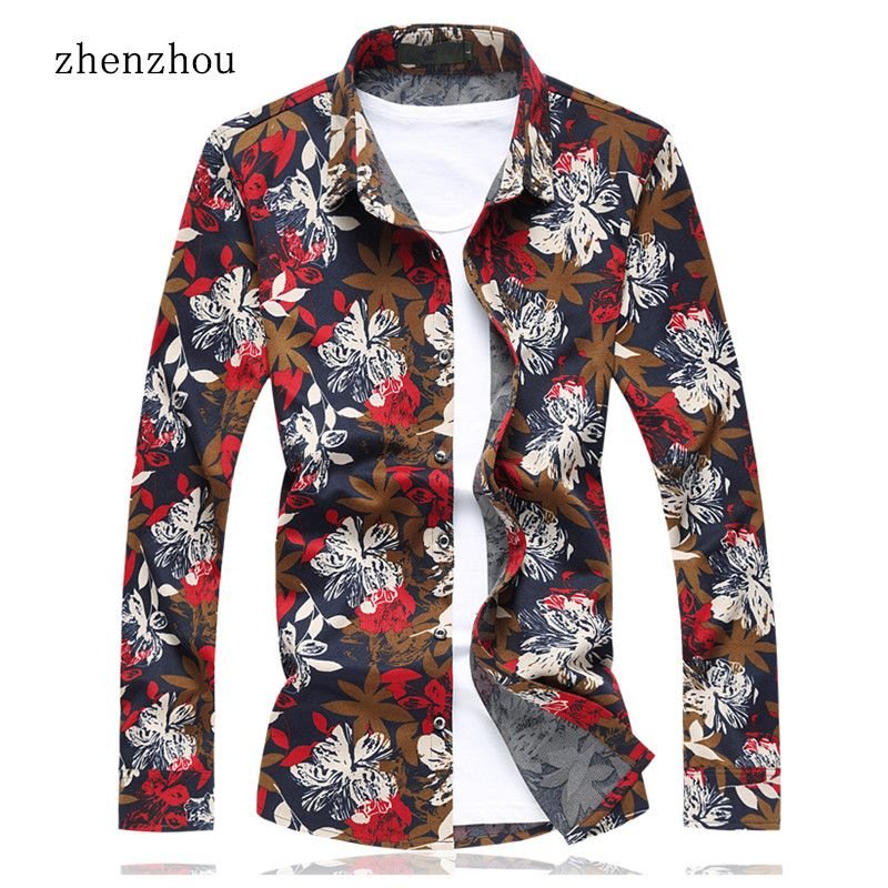 ZhenZhou 2018 Floral Shirts For Men M-6XL 7XL Plus Size Mens Dress Shirts Red Purple Mens Shirts Camisas Hombre Manga Larga