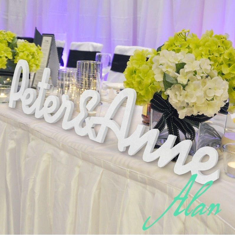Lettres en bois PVC-signes initiaux de mariage autoportants-panneaux de Table personnalisés-initiales 2 lettres et Ampersand