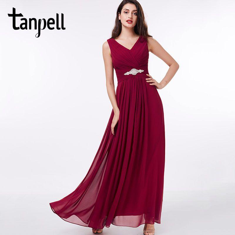 Tanpell long v neck evening dress cheap sexy black Floor-Length sleeveless dress burgundy beading pleats party evening dress