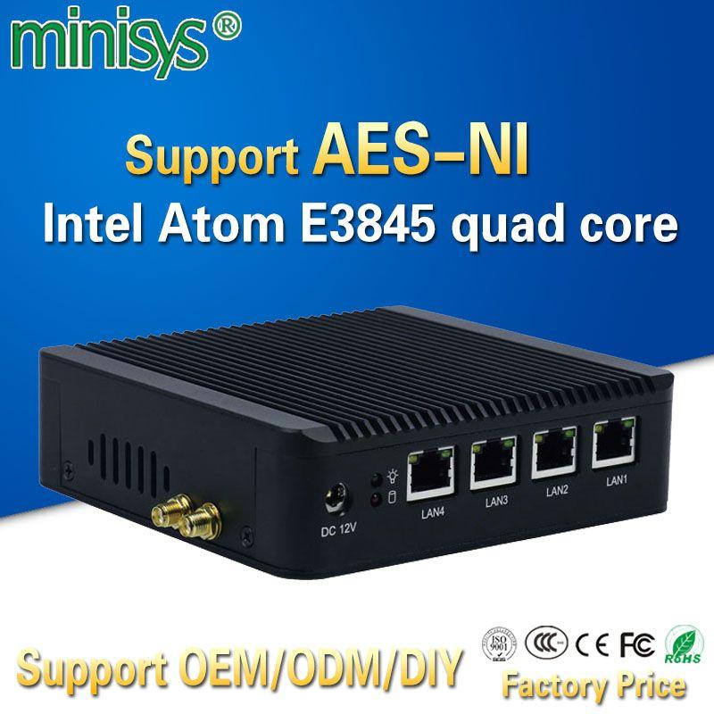 Minisys 4 LAN pfsense MiniPC Intel Atom e3845 Quad Core Mini-ITX материнская плата Linux межсетевого экрана компьютера машина поддержки AES -NI