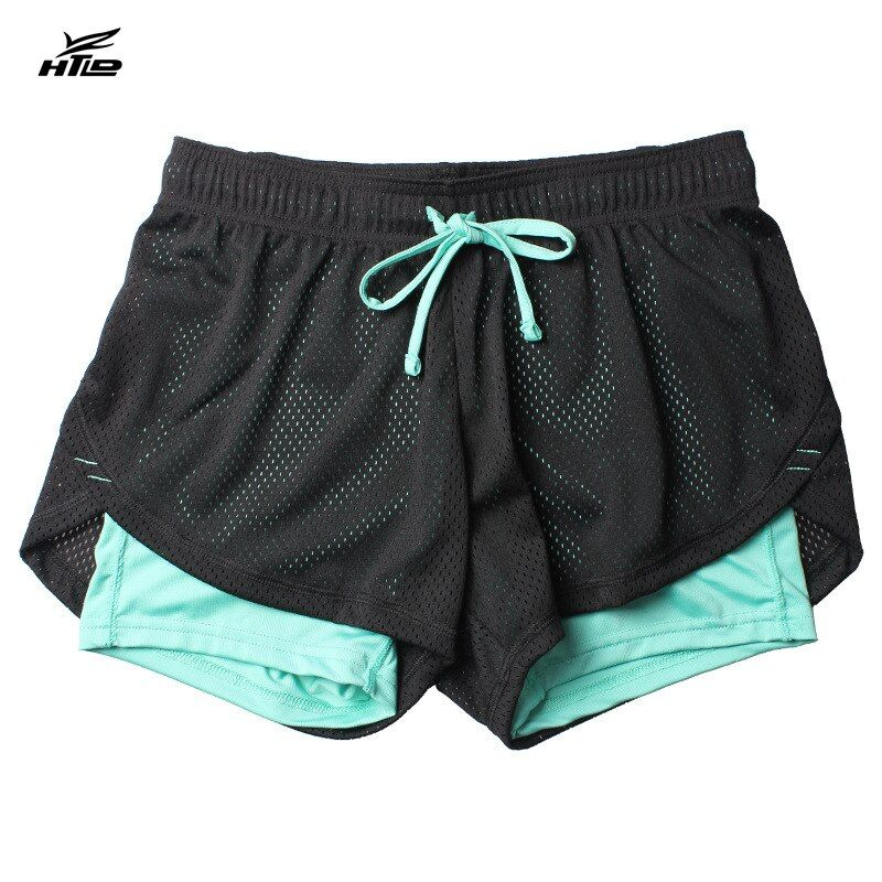 HTLD Gym Running Shorts Women Fitness Double Layer Sport Shorts Athletic Jogger Tennis Shorts 2 In 1 Exercise Yoga Short Femme