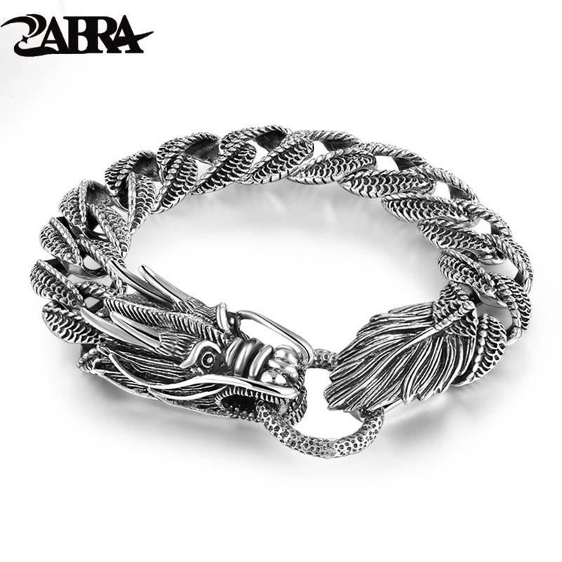 Mens Biker Sterling 925 Silver Dragon Curb Chain Bracelet Thai Vintage Style Dragon Link Handcrafted Punk Men Bracelet Bangle