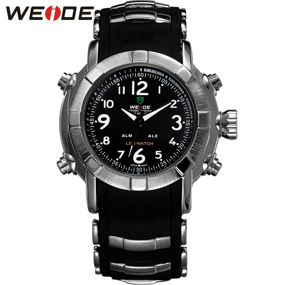 WEIDE Men Quartz Digital Watch Silicone Strap Steel Buckle Japan Movement Relogio LED Military Waterproof Wristwatches