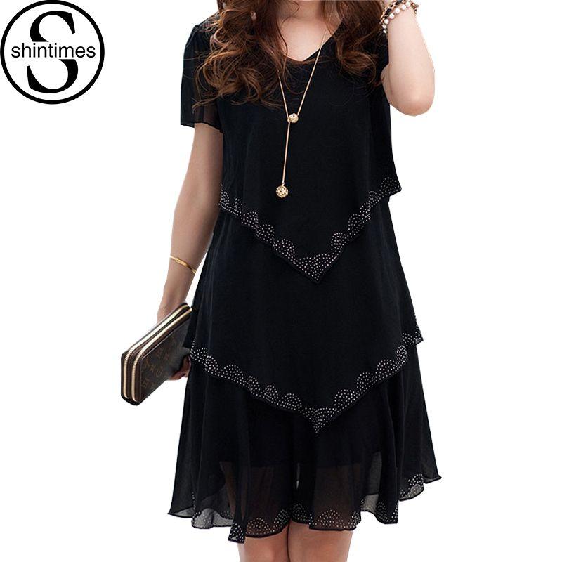 5XL grande taille femmes vêtements 2018 Robe en mousseline De soie robes d'été fête à manches courtes décontracté Vestido De Festa bleu noir Robe Femme
