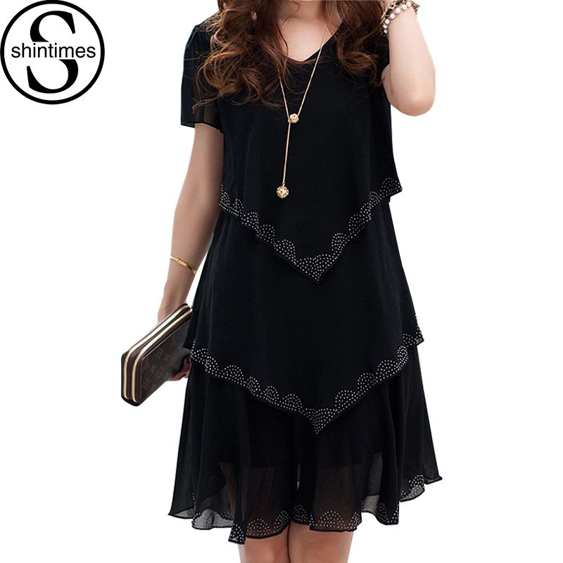 5XL grande taille femmes vêtements 2018 Robe en mousseline De soie robes d'été fête à manches courtes décontracté Robe De Festa bleu noir Robe Femme
