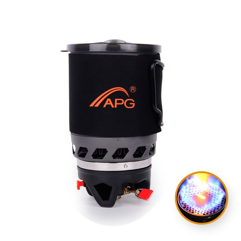 900ml Camping Gas Stove Heat Exchanger Pot Fires Personal Cooking System and portable Gas Burners Camping Equipment