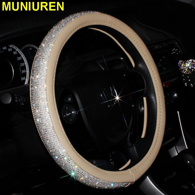 4 Color Luxury Crystal Car Steering Wheel Covers for Women Girls Leather Rhinestone Covered Steering-Wheel Interior Accessories