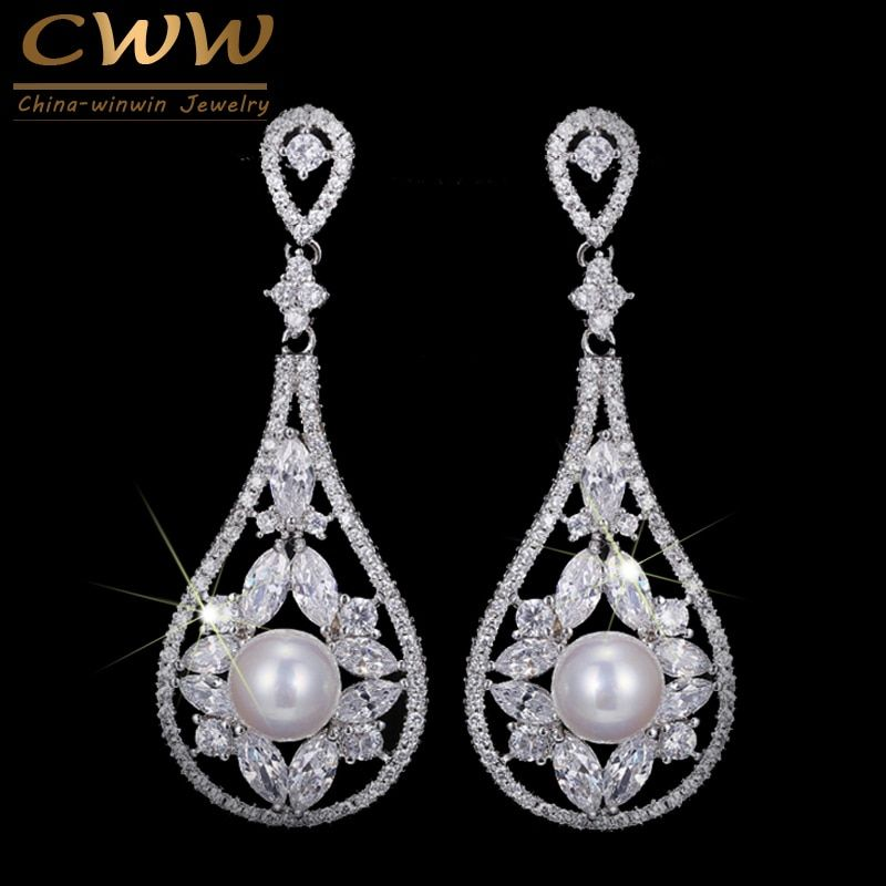 CWWZircons nobles blanc CZ pierres Pave pendaison Vintage mariée longue goutte perle boucles d'oreilles pour les mariées de mariage bijoux cadeau CZ213