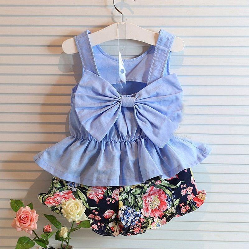 Filles vêtements d'été 2016 ensemble court bleu noeud sans manches gilet + fleur imprimé ensemble Short et haut bambin fille vêtements pour 2-8Y