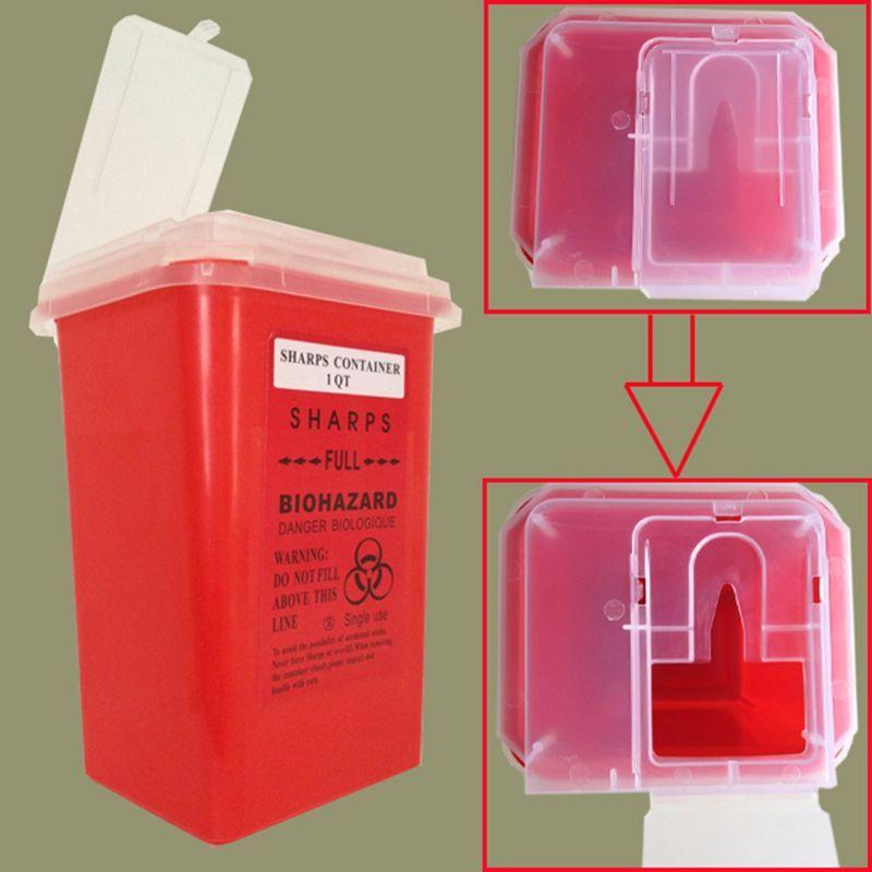 Offre spéciale rouge tatouage médical plastique Sharps conteneur Biohazard aiguille élimination 1 Qt taille pour les tatoueurs livraison gratuite