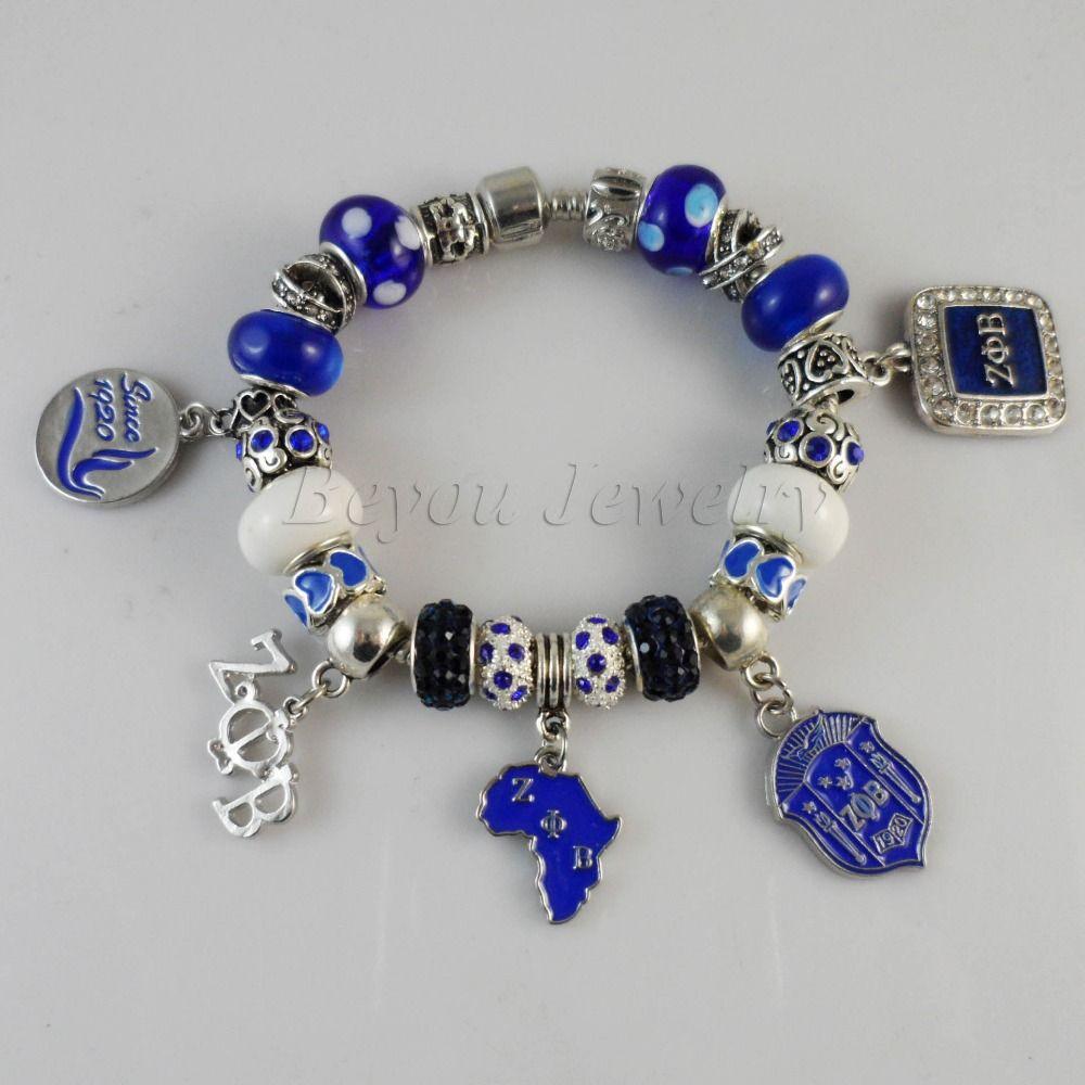 2015 Newest  ZETA PHI BETA  Sorority  Bracelet ZPB charm bead  bracelet bangle