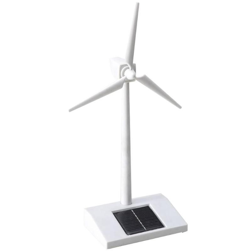 Solar Powered 3D Windmill Assembled Model Education Fun Kids Toy Gift ABS Plastics Wind Turbine White for Kids Children Toys