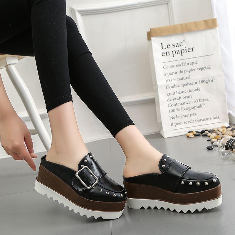 Lucyever femmes chaussures en cuir haute plate-forme compensées marron Slingbacks pompes mode fond épais Rivets boucle chaussures femme décontractées